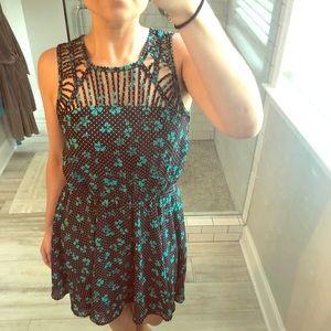 Polka dots and floral print dress